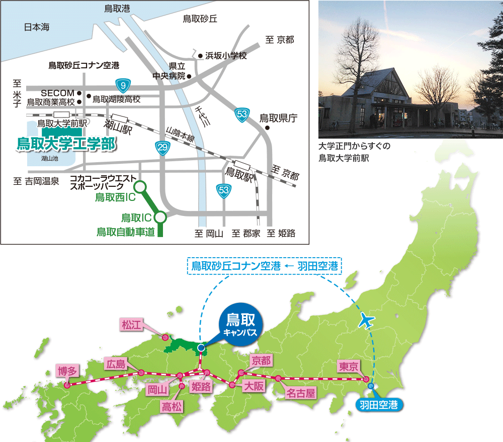 鳥取大学工学部アクセスマップ